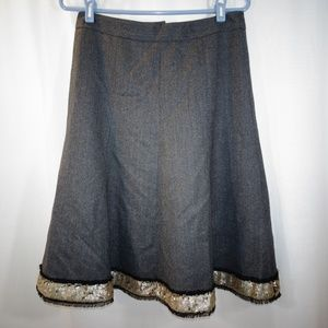 J CREW Gray Wool Full Skirt Sequin Trim Size 4
